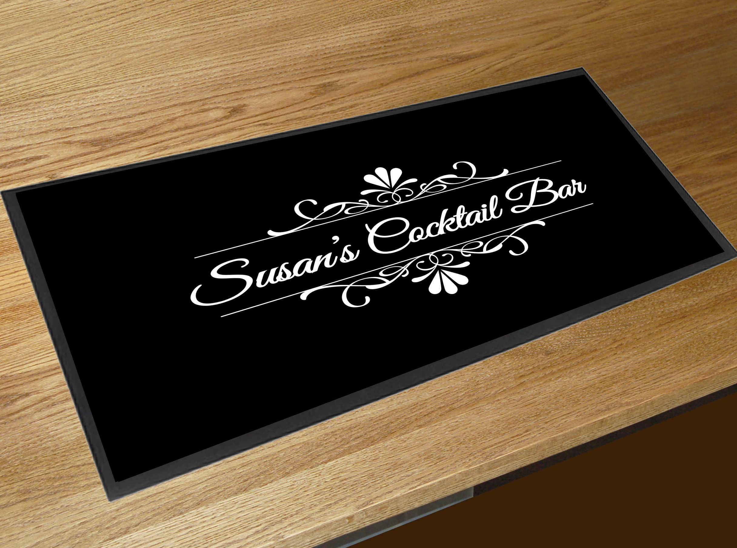Bar Drink Mats Personalised Black Cocktail Bar Runner Mat