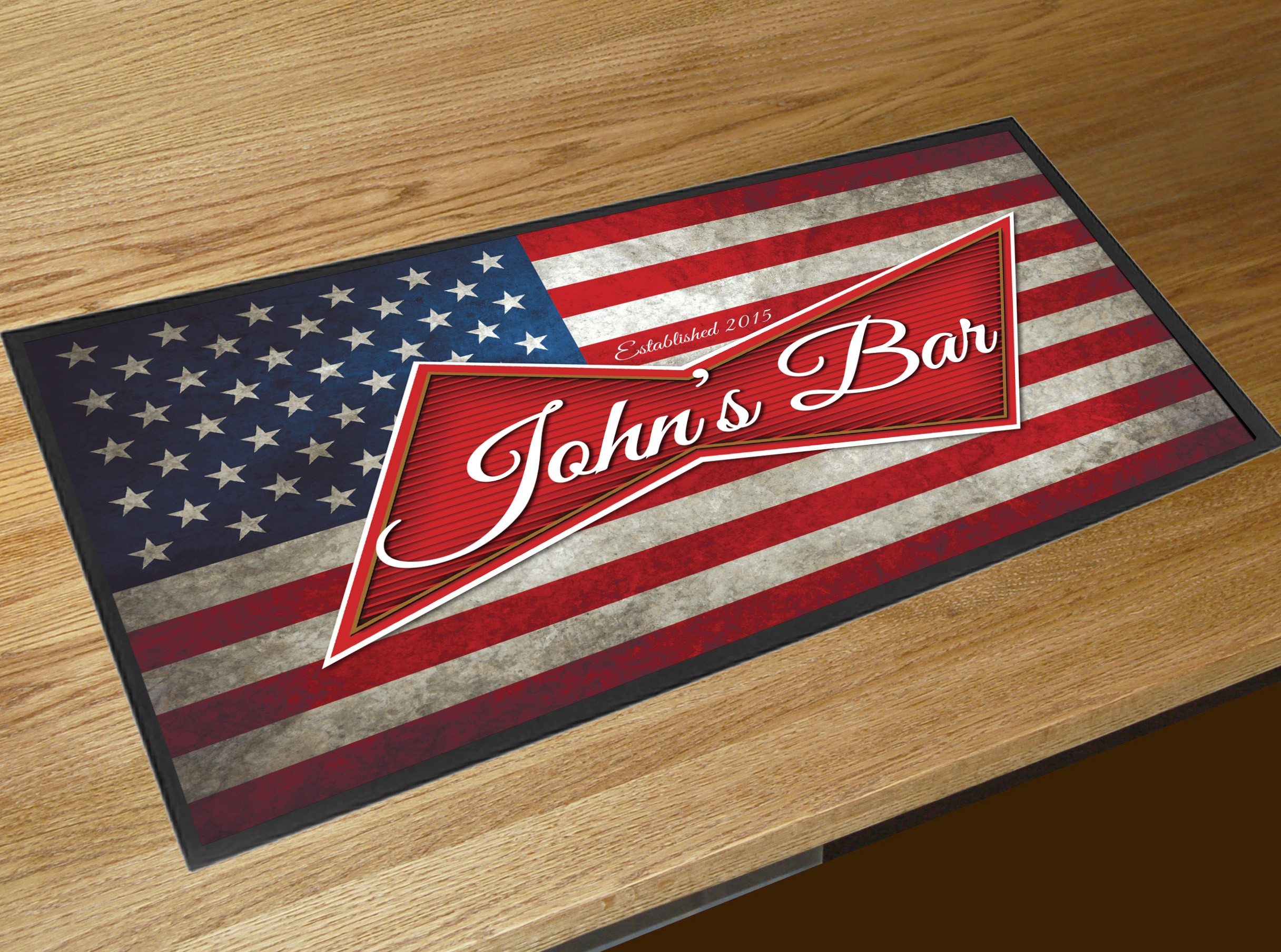 Bar Drink Mats Personalised American Flag Beer Label Bar Runner Mat