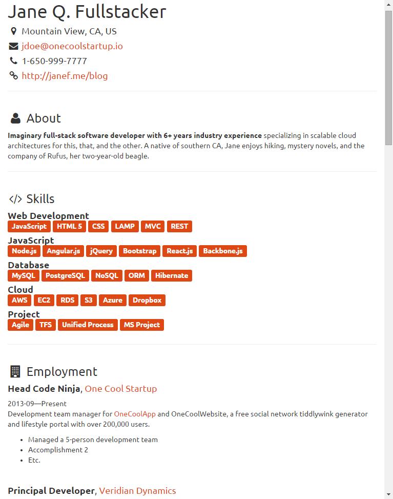 json resume keywords