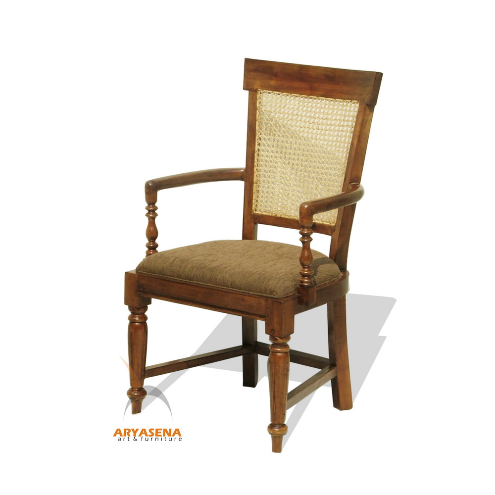 Dubai Arm Chair With Fabric Seat And Back Cane Lgch 06
