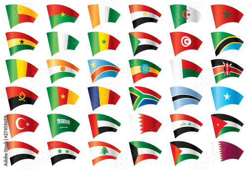 Moving flags set - Africa  Middle East 36 Vector flags - Buy this