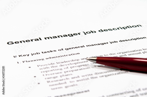 General manager job description - Buy this stock photo and explore