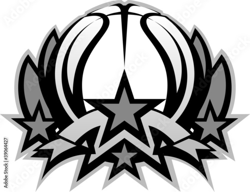 Basketball Ball Vector Graphic Template with Stars - Buy this stock