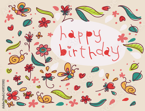 cartolina di buon compleanno illustrata - Buy this stock