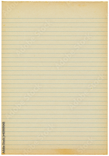 Old yellowing lined blank A4 paper isolated - Buy this stock photo