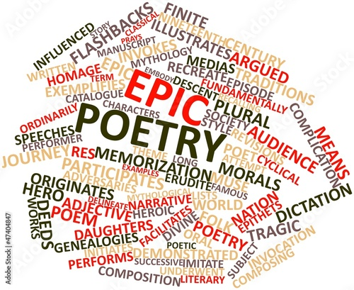 Word cloud for Epic poetry - Buy this stock illustration and explore