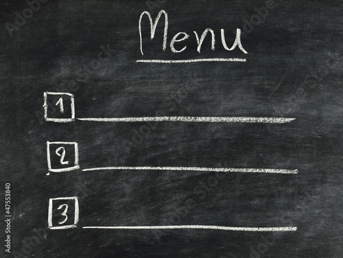 the word menu written on blackboard - Buy this stock photo and