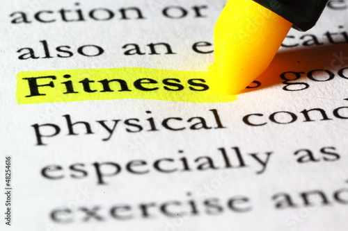 Word fitness highlighted with a yellow marker - Buy this stock photo