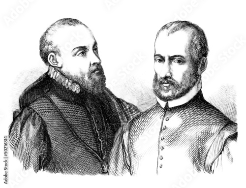 2 Men - Portrait - 16th century - Buy this stock illustration and