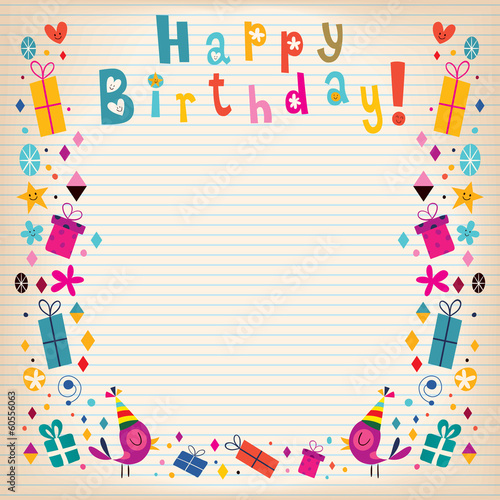 Happy Birthday border lined paper retro card - Buy this stock vector - lined border paper