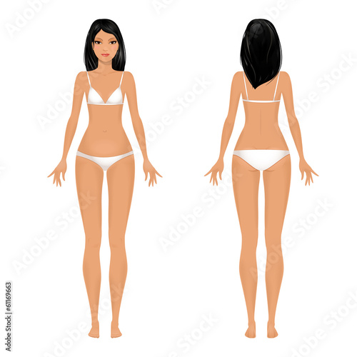 Female body template front and back - Buy this stock vector and