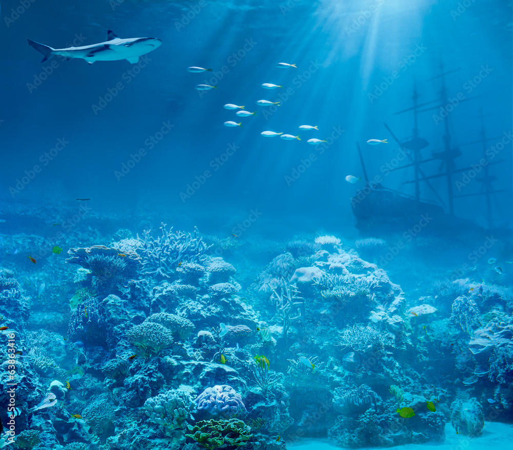 Fototapeten Unterwasser Fototapeten Sea Or Ocean Underwater With Shark And Sunk Treasures