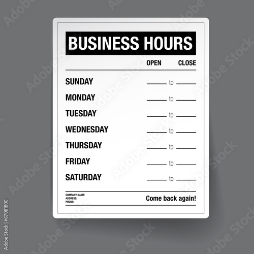 Business hours vector template - Buy this stock vector and explore