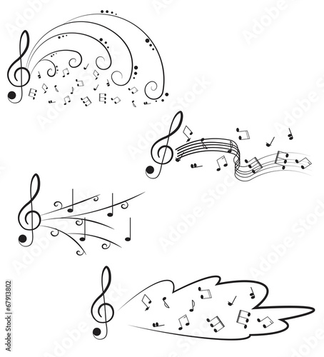 Music Treble clef and notes for your design on a white - Buy this