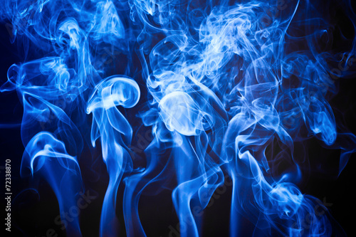 Blue artistic smoke on black background texture - Buy this stock