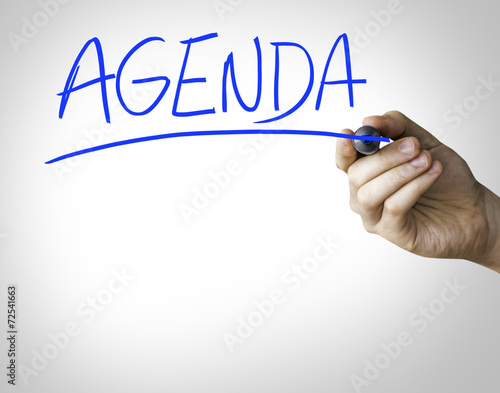 Agenda hand writing on blue marker - Buy this stock photo and