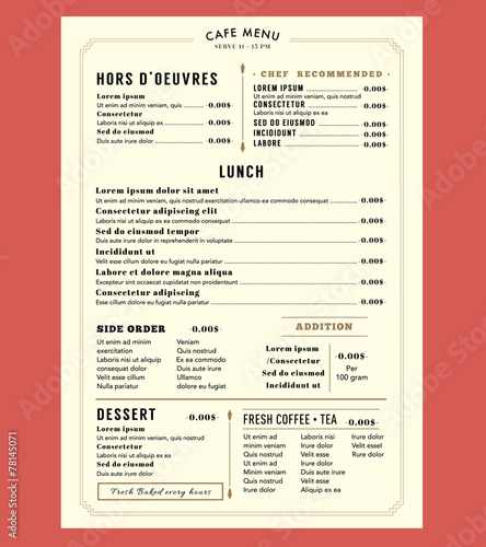 Menu Design for Lunch Restaurant Cafe Graphic Design Template la