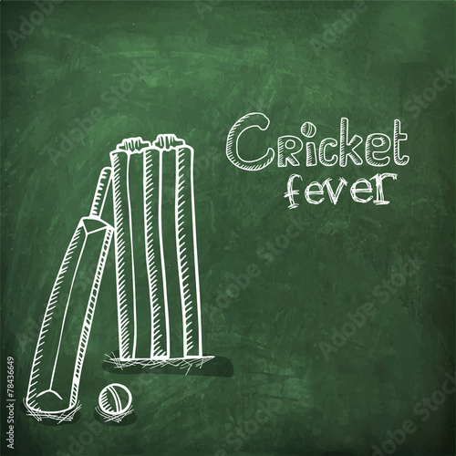 Stylish bat, ball and wicket stumps on chalkboard for Cricket - Buy