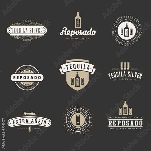 Tequila Hipster Logo design vector typography lettering template - hipster logo template