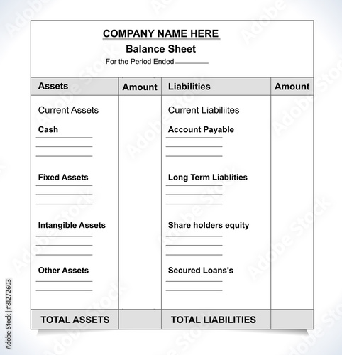 balance sheet format, unfill paper balance invoice form - Buy this