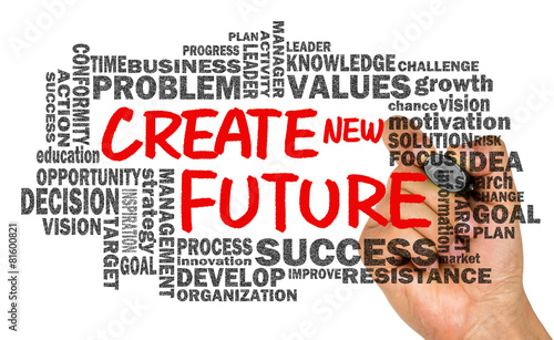 create new future with related word cloud hand drawing on whiteb