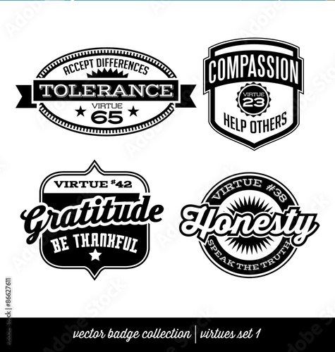 badge label collection with virtues- positive character traits on