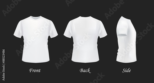 T-shirt template, front, side, back view White t-shirts on black