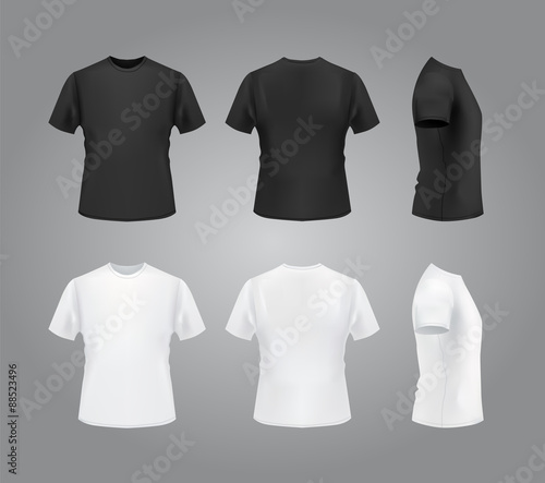 T-shirt template, front, side, back view Black and white t-shirts