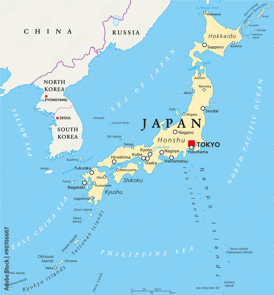 Bilder Auf Leinwand Japan Japan Political Map With Capital Tokyo National Borders And