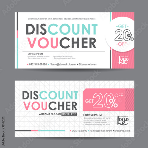 discount voucher template with colorful pattern,cute gift voucher