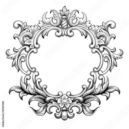 Vintage baroque frame border leaf scroll floral ornament engraving - baroque scroll designs
