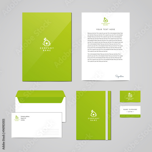 Corporate identity eco design template Documentation for business - letterhead and envelope design
