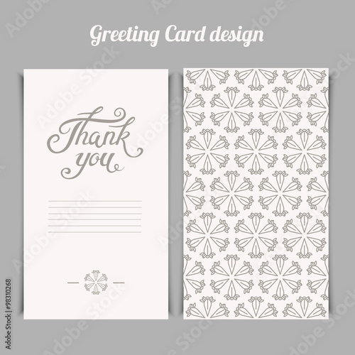 Elegant Thank You card template with silver floral pattern Vect