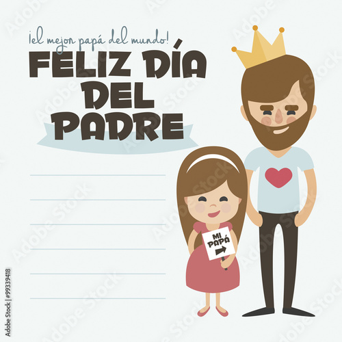 Happy Fathers day card Vector Element Set Dad with beard and