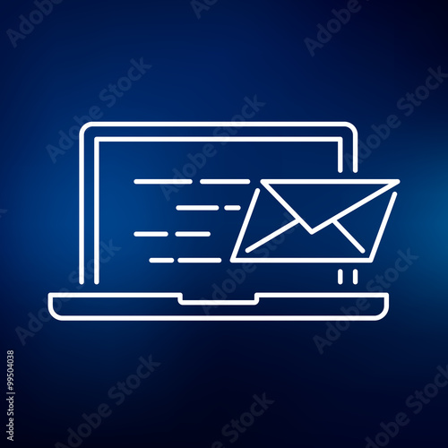 Laptop email send icon Notebook mail delivery sign Sent mail - mail background