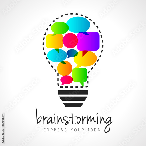 Abstract brainstorming illustration with lightbulb and colorful