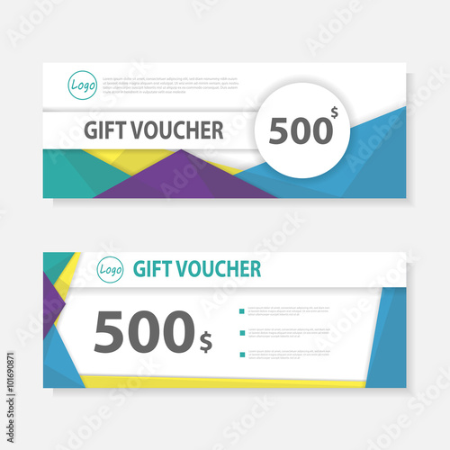 Colorful Gift voucher template with colorful pattern,cute gift