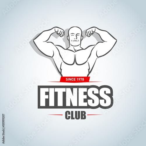 Fitness logo template Gym club logotype Sportsman silhouette