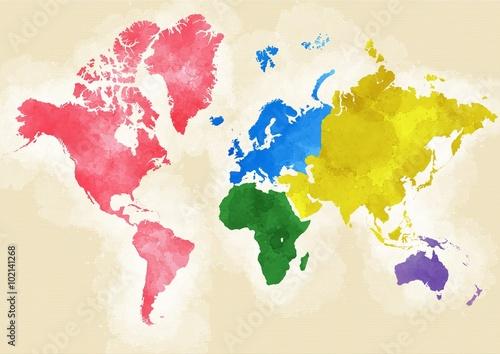 Cartina mondo, disegnata illustrata pennellate, divisione per - cartina mondo