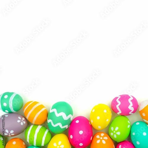 Colorful Easter egg bottom border against a white background - Buy