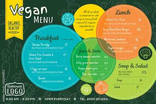 colorful organic food vegan restaurant menu board or placemat