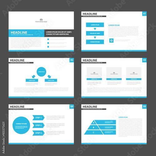Blue black presentation layout templates Infographic elements flat