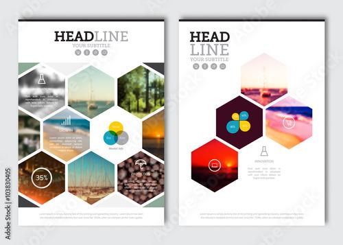 Business brochure design template Vector flyer layout, blur