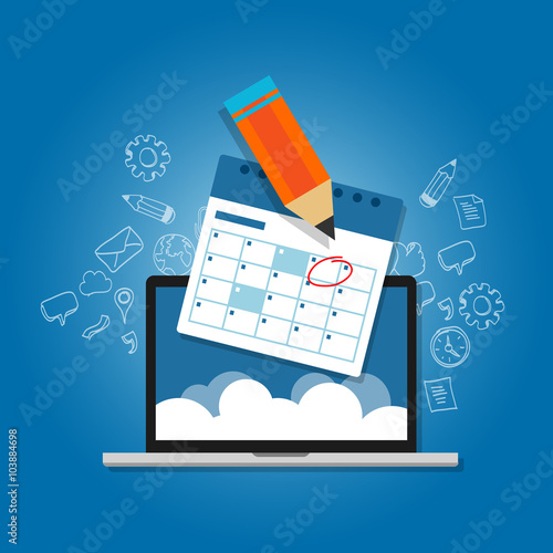 mark circle your calendar agenda online cloud planning laptop - Buy