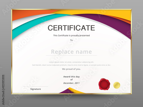 Modern certificate appreciation template diploma design vector