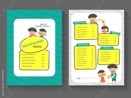 Food breakfast menu layout template a4 flat design set , food with