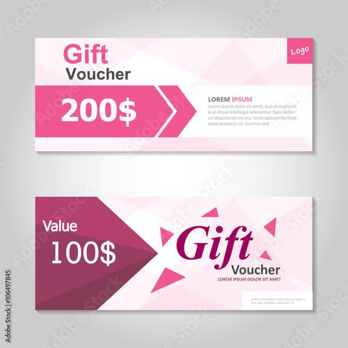 Cute pink gift voucher template layout design set, certificate