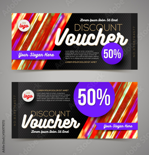 Discount voucher template - multicolor bright design, Vector - discount voucher design
