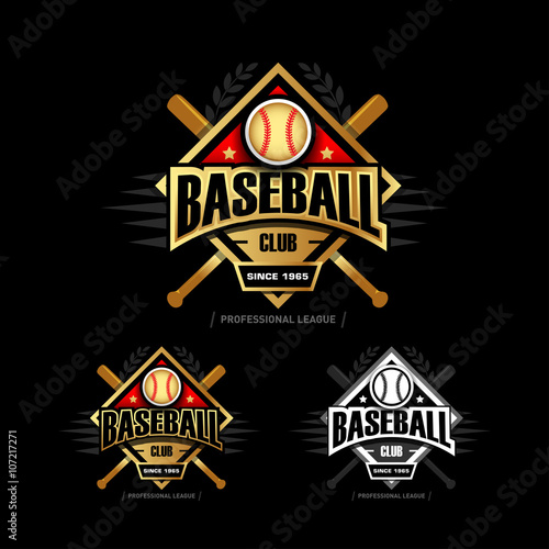 Golden Baseball sport badge logo design template and some elements