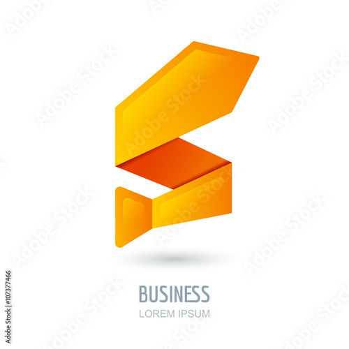 Vector logo, sign design with abstract tie in zigzag shape Orange